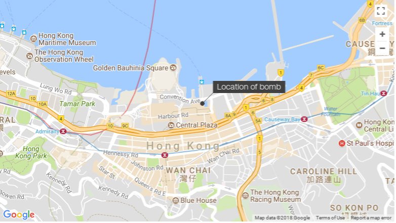 An unearthed explosive in Hong Kong