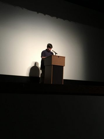 Sophomore Ryan Thornburg delivers a speech in the PAC.