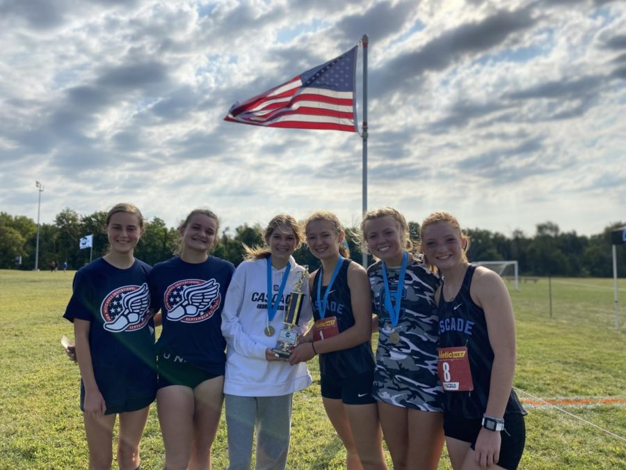 The girls xc team with their very first Jon Mitchell championship.